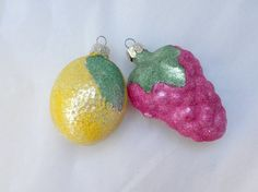 vintage Christmas ornaments frosted fruit grape and by vivarte, $11.95