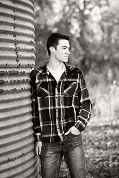 Senior Guy Pose Ideas - Senior Boy Picture - Senior Guy Portrait - Breezy Hill Portraits - Fall Portrait -Fall Session - Flannel - Black and White - Farm - Grain Bin