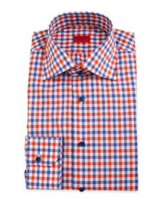 Gingham Check Dress Shirt, Orange/Blue by Isaia at Neiman Marcus.