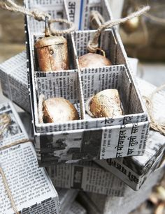 Fabulous way to decoupage boxes to suit your needs ... love the newsprint.