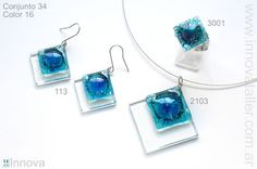 Fused glass earrings and pendant. Layered glass pieces not fully fused. de vitrofusion - conjuntos - sets - Innova