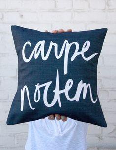 Carpe Noctem Pillow, Seize the Night, by Bright July. Concrete Jungle, Carpe Noctem, Night Owl, Night Night, Night Shift, Monochrom, Color Azul, Pillow Talk, Humble Abode