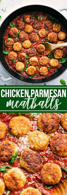 A fun twist on two classic Italian dishes -- CHICKEN PARMESAN MEATBALLS. Delicious and sure to be a hit! via chelseasmessyapron.com