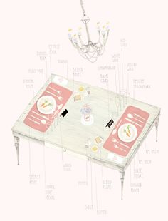 how to properly set a table - cute illustration