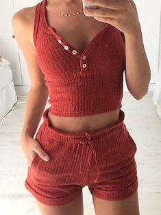 #fall #outfits women's red sleeveless crop top and shorts set