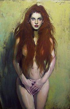 Malcolm Liepke, Cascading Hair 2012, oil on canvas