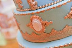 Tiffany blue and gold Marie Antoinette themed bridal shower cake. A Magic Moment Photography.