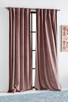 Velvet Louise Curtain by Anthropologie in Purple, Curtains When it comes to master bedroom design Velvet Curtains Bedroom, Blush Curtains, Living Room Decor Curtains, Velvet Drapes, Drapes Curtains, Bedroom Decor, Purple Curtains, Silk Drapes, Curtain Room