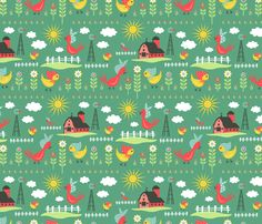 Rise and Shine: Green fabric by sheri_mcculley on Spoonflower - custom fabric