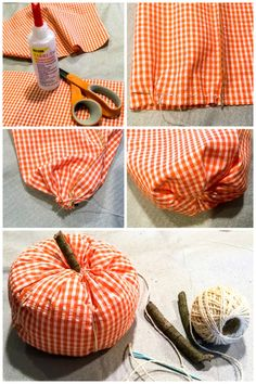 If you've wondered how to make easy fabric pumpkins here are 3 tutorials to make fall pumpkins for your home decor, including a no sew fabric pumpkin tutorial! Diy Pumpkin, Pumpkin Crafts, Adornos Halloween, Halloween Crafts, Halloween Decorations, Autumn Crafts, Holiday Crafts, Fabric Pumpkins No Sew, Sewing Crafts