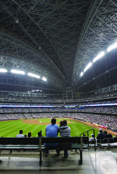 The nation's ONLY fan-shaped, retractable roof baseball stadium - Miller Park. Go Brewers!