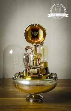 Steampunk Lamp Art Sculpture with Glass Dome Display