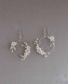 Bridal Statement Earrings Floral Bridal Earrings Statement Hoop Earrings hoop earrings wedding j - Bridal Statement Earrings Floral Bridal Earrings Statement Hoop Earrings hoop earrings wedding j - Cute Earrings, Bridal Earrings, Statement Earrings, Hoop Earrings, Beautiful Earrings, Vintage Earrings, Wedding Accessories, Wedding Jewelry, Jewelry Accessories