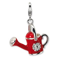 Sterling Silver 3-D Enameled Red Watering Can Charm