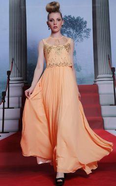 綺麗な花刺繍のオレンジ系ロングドレス♪ - ロングドレス・パーティードレスはGN|演奏会や結婚式に大活躍!