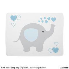 Birth Stats Baby Boy Elephant Nursery Blue Grey Receiving Blanket