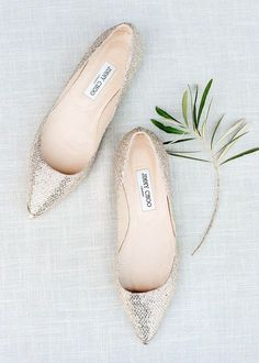 silver glitter Jimmy Choo flats are always a chic option and can be worn afterwards#shoes #wedidngshoes #weddings #wedidngideas