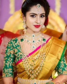 Our Most Valued Client looking the happiest and exceedingly Graceful like a Princess always in Stunning Diamond Jewellery from her's and… Wedding Saree Blouse Designs, Pattu Saree Blouse Designs, Half Saree Designs, Fancy Blouse Designs, Indian Bridal Sarees, Indian Bridal Fashion, Indian Bridal Outfits, Wedding Sarees, Wedding Saree Collection