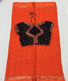 Here is the Beautiful mirror saree with chiffon saree or georgette sarees paired with designer mirror work b. Blouse Back Neck Designs, Fancy Blouse Designs, Saree Blouse Designs, Blouse Neck, Sari Blouse, Blouse Patterns, Mirror Saree, Mirror Work Saree Blouse, Saris