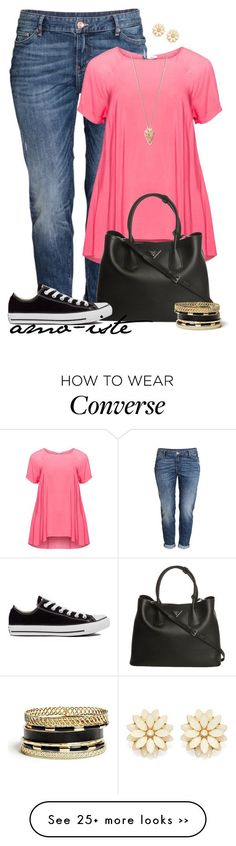 """""""Everyday - Plus Size"""" by amo-iste on Polyvore featuring H&M, Maxima, Prada, Converse, Pamela Love, GUESS and Forever 21"""