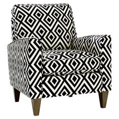Black and White Diamond Arm Chair