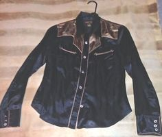 New western-style black satin shirt, woman's small Rodeo Girl by Lucky Brand #LuckyBrand #ButtonDownShirt #Casual