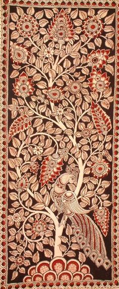 The Tree of Life With Peacocks Perched On It, Folk Art Kalamkari Painting on CottonArtist - M. Tree Of Life Painting, Tree Of Life Art, Tree Art, Art Life, Painting Trees, Painting Art, Madhubani Art, Madhubani Painting, Traditional Paintings