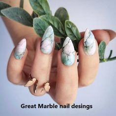 Marble almond nail design is the design I want to introduce to you in this article. Marble nail art designs have been popular for a long time. The shape of almond nails is beautiful and fashionable. They have been very popular in recent years, and f Nail Art Designs, Marble Nail Designs, Marble Nail Art, Nail Designs Spring, Pink Marble, Black Marble, Green Marble, Almond Nails Designs Summer, Cute Spring Nails