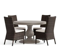 geneva concrete round dining table 4 torrey side chairs espresso