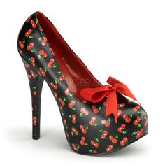 PINUP Sexy Burlesque Retro Rockabilly Cherry High Heel Platform Shoes Pumps #Pleaser #PlatformsWedges #Clubwear