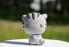 Grey Tabby Cat Figurine / Kawaii Kitten / Collectible Toy  / Party Cake Topper by Naboko Studio
