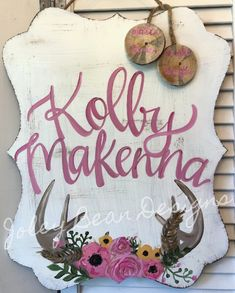 Excited to share this item from my shop: Floral Antlers Baby Girl Hospital Door Hanger Hospital Door Hangers, Baby Door Hangers, Wooden Door Hangers, Baby Door Signs, Baby Name Signs, Cute Baby Names, Baby Girl Names, Baby Girls, Nursery Themes