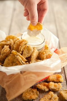 """Fried"" pickles (actually baked) and recipe for homemade cilantro ranch dressing. I pinned this for Chayla"