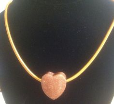Beautiful Goldstone Hollow Heart on 18inch necklace £10.00