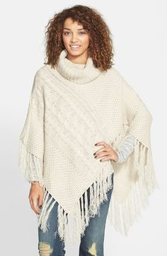 Woven Heart Cable Knit Cowl Neck Poncho (Juniors) at Nordstrom.com. Toss on this fringe-trimmed, cable-knit poncho and indulge in instant coziness. Its slouchy cowl neckline amplifies the never-taking-this-off vibe.