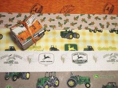 """Jellyroll: 10 - 2.5""""strips John Deere Tractor Farm Green Jelly Roll Fabric Quilt 
