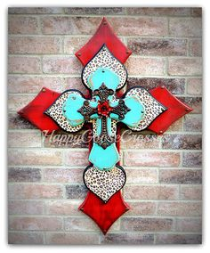 Wall CROSS   Wood Cross   X Large   Antiqued Red U0026 Turquoise With Leopard,  Iron Cross, And Red Iron Rose