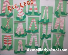 These where made by my 2nd grade class. An art idea I came up with inspired by a Christmas card I saw. Have the students draw stripes on their paper from side to side. Then fold paper in half the long ways. Make 2 cuts. One all the way up one side. The other all the way up the other side. The 2 pieces in the middle are your legs. Add elf feet and your done. I printed one elf foot and folded the paper over. One staple outside of the elf foot will hold paper in place. Then when they cut the…