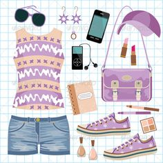 Youth fashionable set  #GraphicRiver         Vector illustration. It is created in the CorelDraw program. It is edited in the Adobe Illustrator program. It is kept in illustrator eps version 8. The file can be edited in any program of vector graphics. The size of the file can be increased till any size without quality loss. In this file there are no gradiyentny fillings and mesh. File full-color. The illustration can be used both entirely, and in parts.     Created: 27July12…