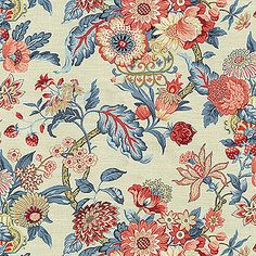 Home Decor Print Fabric- Waverly Graceful Garden/Poppy, , hi-res Trendy Home Decor, Elegant Home Decor, Home Decor Styles, Fabric Houses, Watercolor Pattern, Fabric Wallpaper, Chinoiserie Wallpaper, Home Decor Fabric, Joanns Fabric And Crafts