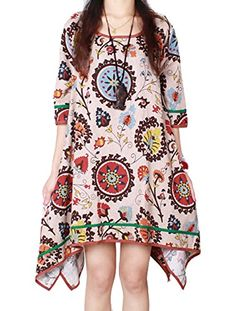 Ammy Fashion Women's Aztec Patterned Cotton and linen Oversized Shirt Dress Long Tunic Beige Size UK 12 P Ammy Fashion http://www.amazon.co.uk/dp/B00WKKOWLQ/ref=cm_sw_r_pi_dp_.xiJwb1VP8WH2