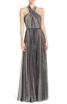 Halston Heritage Belted Print Crinkled Chiffon Fit & Flare Gown available at #Nordstrom