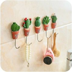 New Plant Shape Resin Stainless Steel Hook Kawaii Cactus Kitchen Wall Door Hanger Magnetic Hook Sundries S Hooks Clothes Hangers Small Cactus, Cactus Flower, Cacti And Succulents, Planting Succulents, Cactus Plants, Crochet Kawaii, Vasos Vintage, Decoration Cactus, Plant Hooks