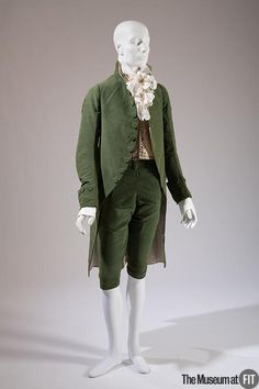3-piece formal suit, France or England, c. 1790-1800. Green silk velvet; waistcoat: cream silk satin with metallic tread embroidery.