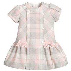 Mayoral Baby Girls Pink & Grey Checked Cotton Dress at Childrensalon.com