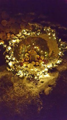 Zinkwanne für Weihnachten Dekoriert