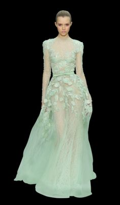 elie saab - haute couture spring 2012 runway - green & white leaves