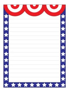 patriotic border writing paper Printable letter papers, border pages, stationery and note paper sheets for writing, paper crafting, scrapbooks, party favors, menus, and classroom arts and crafts.