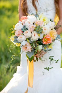 Perfect for a spring wedding, flower field, wild flower bouquet, poppy, jazmin, Juliet rose, succulents, garden roses, peach wedding, yellow wedding, Meghan Wiesman Photography