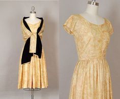 vintage 1950s dress silk gold full skirt by NodtoModvintage,